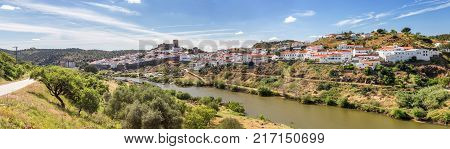 Panorama. Aerial. Mertola filmed with drone sky. Portugal Alentejo Guadiana
