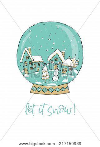 Christmas Snow Globe. Let it Snow. Vector illustration