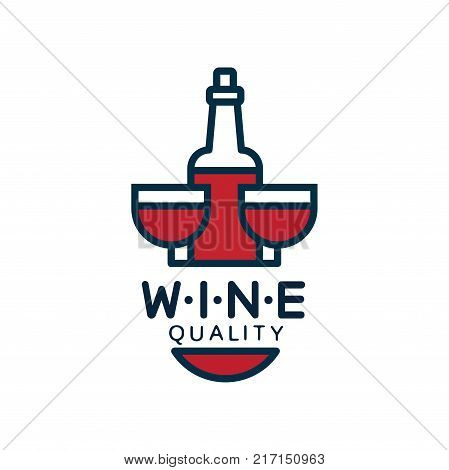 Wine quality label, design element for menu, winery logo package, winery branding and identity vector Illustration isolated on a white background