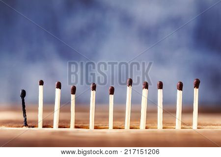 a row of matches on a wooden background, the last match burned down. Extinct match next to unlit