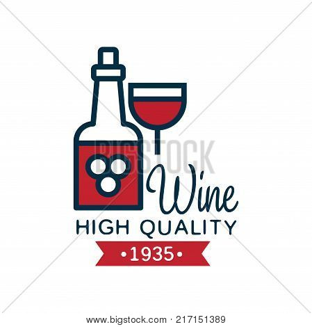 Wine high quality label, design element for menu, winery logo package, winery branding and identity vector Illustration isolated on a white background