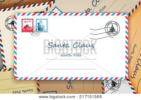 Pile Santa Claus Christmas Mailing Address Letter Post Vector Illustration