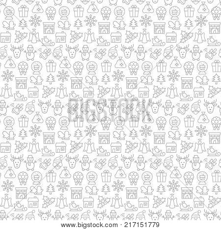 Seamless pattern with icons of christmas items. Vector illustration.