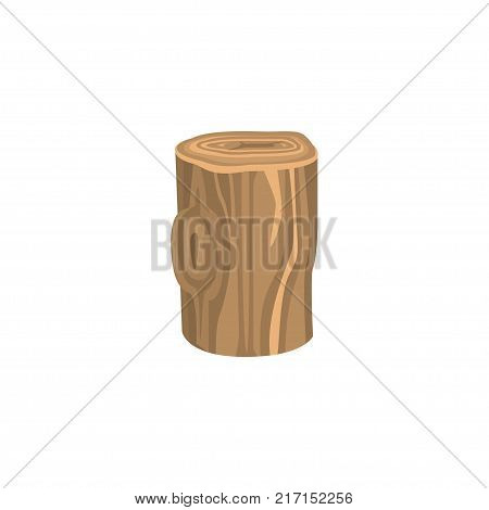 Piece of wood for kindling fire isolated on white background. Wood and wooden things manufacturing. Organic material, natural texture. Detailed cartoon element. Vector illustration in flat style.