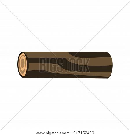 Log of tree isolated on white background. Wood and wooden things manufacturing, firewood production. Organic material, natural texture. Vector illustration of detailed cartoon element in flat style.