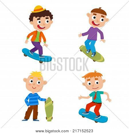 Summer activity skateboarding concept. Vector set of skateboarder boys stand with skateboard in cartoon style isolated on white background. Summer break, boys having free time. Happy child.