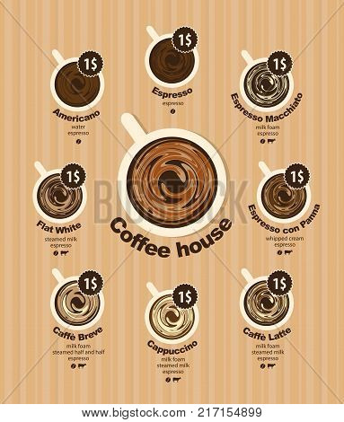 Vector coffee menu card for different types of coffee with a picture of the cups top view with price on striped background