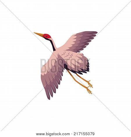 vector flat Japan traditional flying bird - crane flapping wings icon image, cartoon style japanese symbols concept. Isolated illustration on a white background.