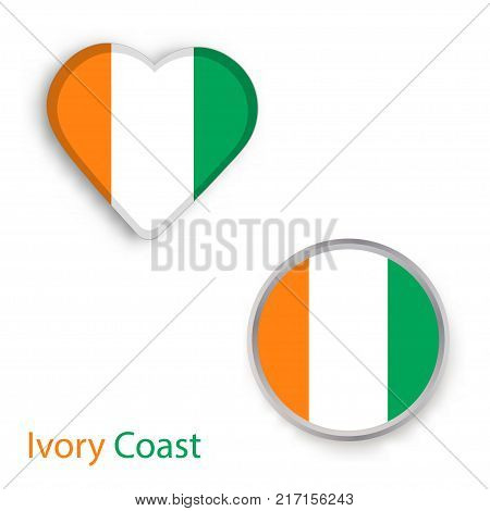 Heart and circle symbols with flag of Ivory Coast. Vector illustration
