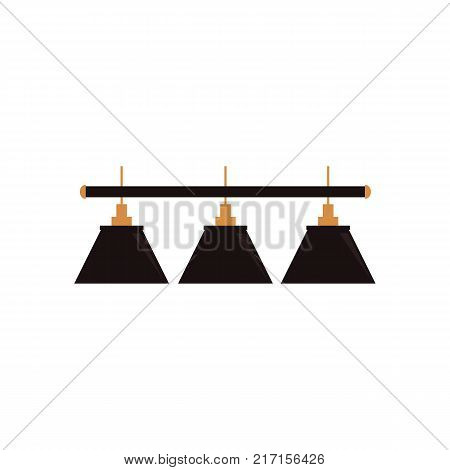 vector flat cartoon green billiard pendant lamp. Isolated illustration on a white background. Professional snooker, pool billiard equipment, furniture for your design.