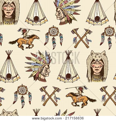 indian or native american. seamless pattern. axes and tent, Dreamcatcher and cherokee, tomahawk. set of engraved vintage, hand drawn, old, labels or badges