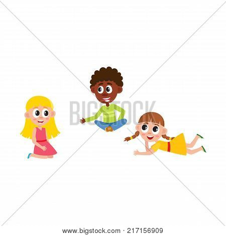 vector flat african boy and caucasian girls kids sitting at floor in kindergarten, preschool class chating with each other. Isolated illustration on a white background.
