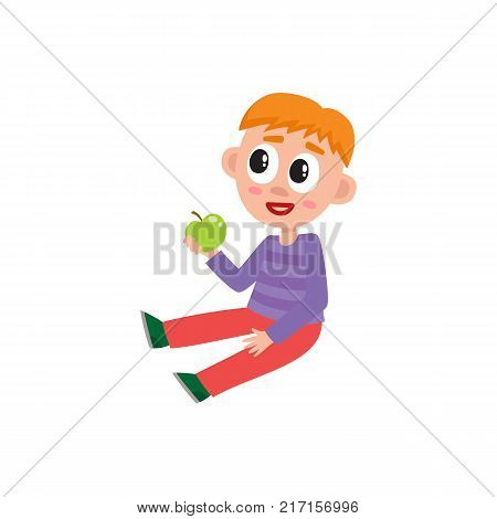 Little preschool, kindergarten boy sitting on floor, holding apple, listening, cartoon vector illustration isolated on white background. Little boy, child, kid with green apple sitting on floor