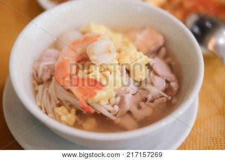 Mixed seafood on white dish suki yaki