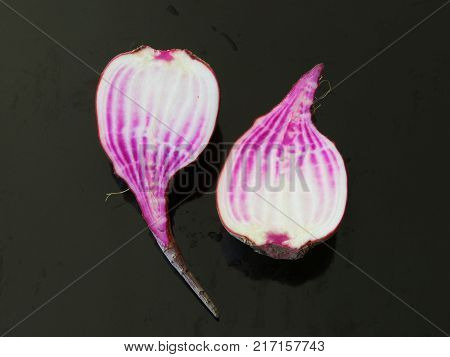 Raw chioggia beet or candy cane beet cut in half on dark background.