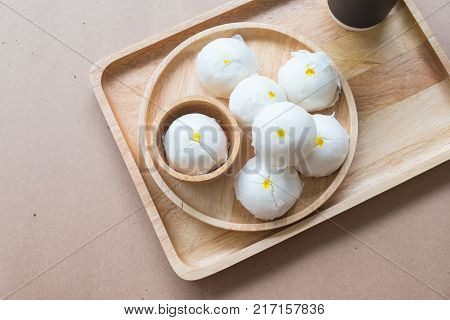 Chinese food cream buns steamed dumpling in restaurant. Top view.