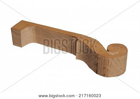 Violin making project: wood block cut out in shape of a neck and scroll with pencil marks for further stages isolated on white background
