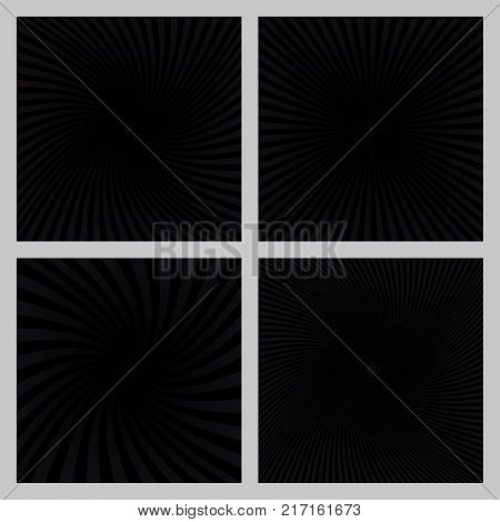 Black spiral ray and starburst background design set