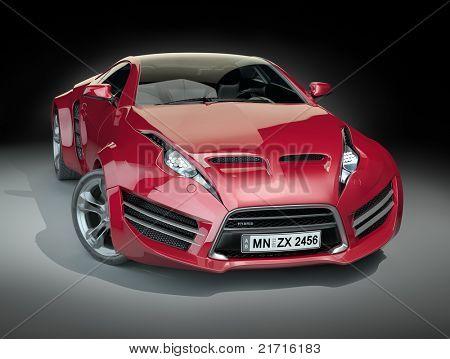 Rote Hybrid-Sportwagen. Nicht eingebrannten Konzeptfahrzeug.