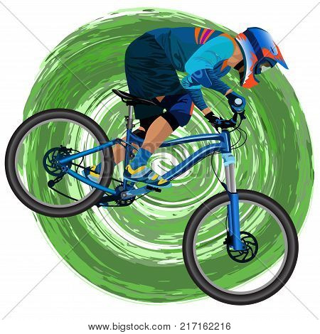 An image of a cyclist on a mountain bike on a green background - vector