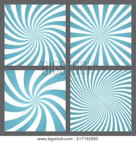 Light blue retro spiral and ray burst background design set