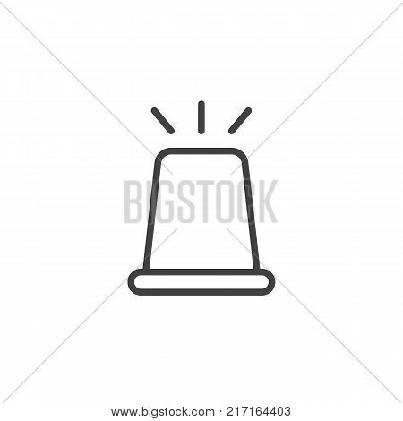 Flasher light line icon, outline vector sign, linear style pictogram isolated on white. Police ambulance flashing siren symbol, logo illustration. Editable stroke