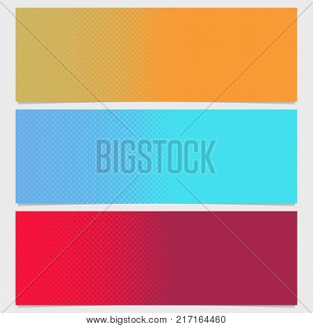 Abstract halftone dot pattern horizontal banner set - vector graphic from circles in varying sizes