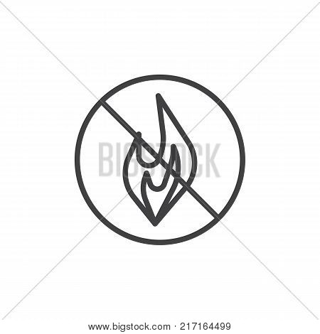 No Fire line icon, outline vector sign, linear style pictogram isolated on white. No open flame symbol, logo illustration. Editable stroke