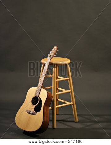 Guitar And Stool Before Concert Front