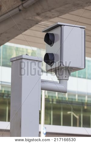 Speed camera on a street in the city