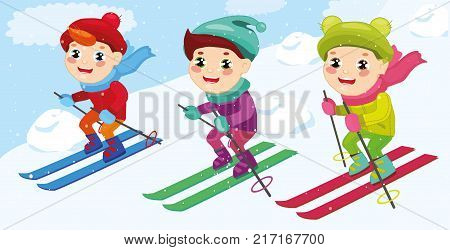 set Boys skiing. Skis in snow skiing people. Winter sports at kids holidays. children skiers enjoying snow landscape. Vector illustration in a flat style.