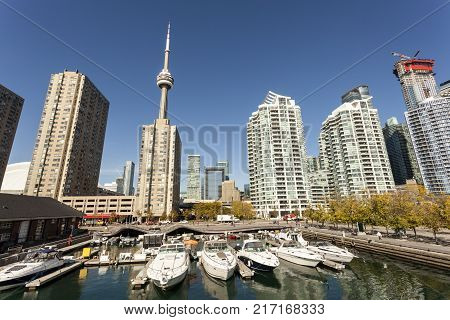 Yachts and boats in the marina downtown of Toronto Canada