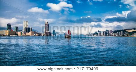 Hong Kong - APR 4, 2016: Cityscape of Victoria Bay in Hong Kong on Apr 4, 2016, China. Hong Kong ranks as the world's fourth most densely populated sovereign state or territory.