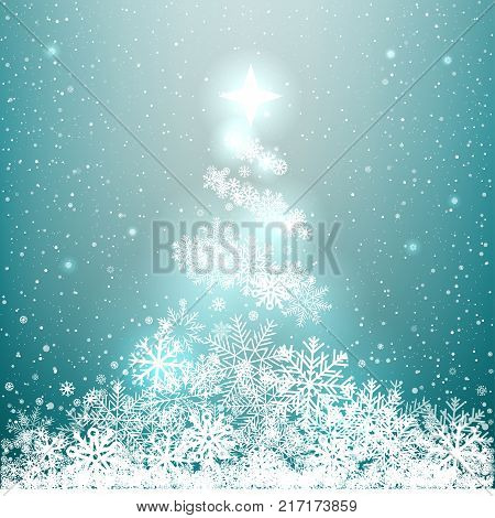 Winter glowing spruce from snow on blue background. Christmas snowflakes tree star shines from above