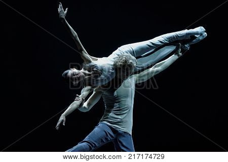ST. PETERSBURG, RUSSIA - NOVEMBER 16, 2017: Ballet dancers Lucia Lacarra and Marlon Dino perform during gala concert of Oleg Vinogradov. Great choreographer celebrated his 80th anniversary