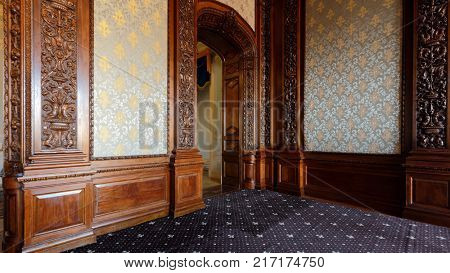 ST. PETERSBURG, RUSSIA - AUGUST 30, 2017: Interior of Oak dining room in Yusupov palace. The palace is acclaimed as the Encyclopedia of St. Petersburg aristocratic interior