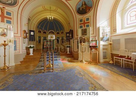 ST. PETERSBURG, RUSSIA - AUGUST 30, 2017: Interior of the Home Church in Yusupov palace. The palace is acclaimed as the Encyclopedia of St. Petersburg aristocratic interior