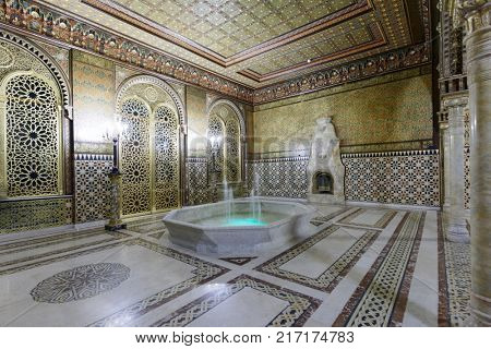 ST. PETERSBURG, RUSSIA - AUGUST 30, 2017: Interior of Moorish drawing room in Yusupov palace. The palace is acclaimed as the Encyclopedia of St. Petersburg aristocratic interior