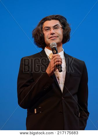 ST. PETERSBURG, RUSSIA - NOVEMBER 16, 2017: Rector of Vaganova ballet academy Nikolay Tsiskaridze greeting the choreographer Oleg Vinogradov during anniversary gala concert