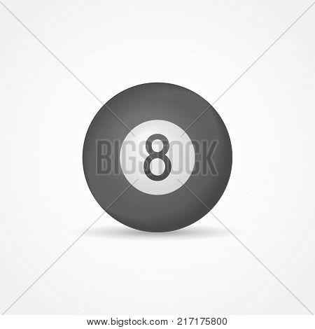 Billiard eight ball isolated on white background. Vector illustration.
