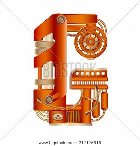 The letter G of the Latin alphabet, made in the form of a mechanism with moving and stationary parts on a steam, hydraulic or pneumatic draft. Isolated freely editable object on white background.