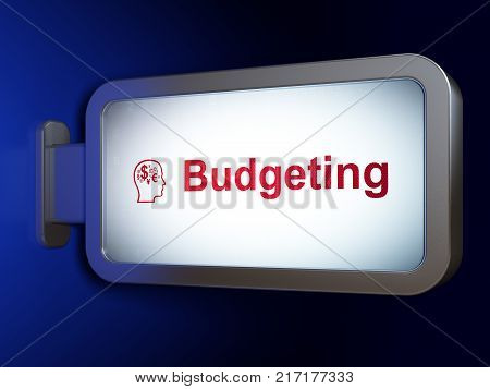 Business concept: Budgeting and Head With Finance Symbol on advertising billboard background, 3D rendering