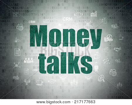 Business concept: Painted green text Money Talks on Digital Data Paper background with  Hand Drawn Business Icons