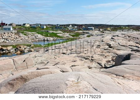 Peggy's Cove settlement in Nova Scotia in spring