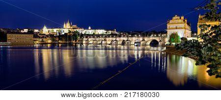 Charles bridge and river Vltava. St. Vitus Cathedral in Prague - Czech republic
