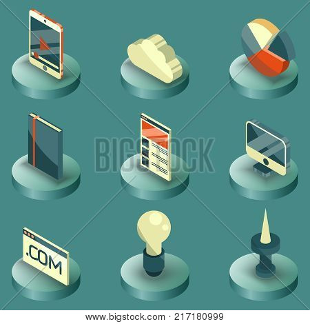 Web design color isometric icons. Logo design, vector design, stationary, branding, corporate identity, product design