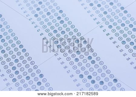 Test score sheet with answers, Answer sheet,education concept