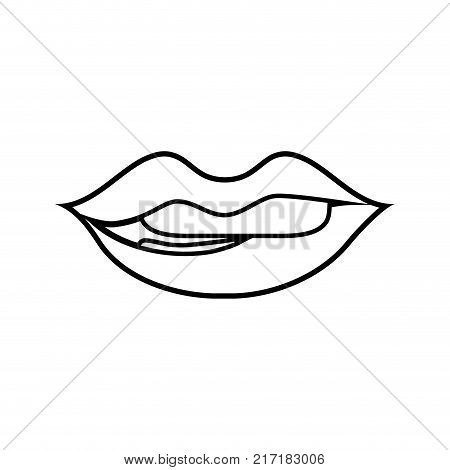 line mouth with lipstick and bite inferior lip vector illustration