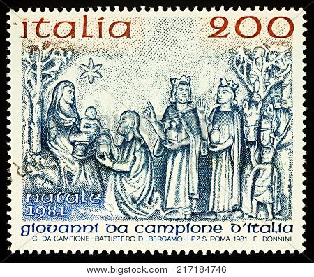 Moscow Russia - December 07 2017: A stamp printed in Italy shows bas-relief