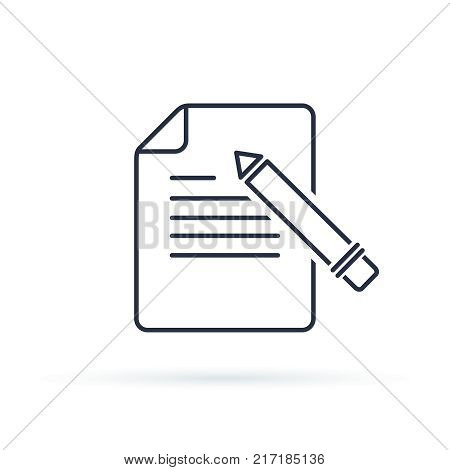 Writing Glyph Vector Icon. Contact form write or edit flat design sign, line pictogram isolated on white. Pixel perfect logo illustration. Document and Pencil